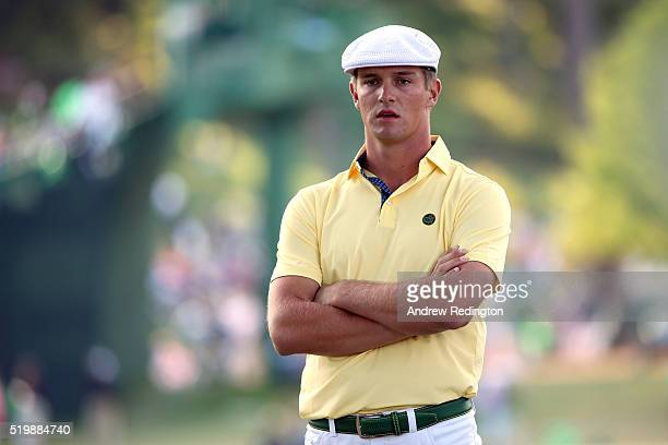 Amateur Bryson DeChambeau of the United States reacts on the 17th hole during the second round of the 2016 Masters Tournament at Augusta National...