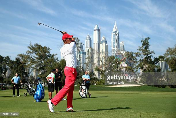 Amateur Bryson DeChambeau of the USA in action during the proam event prior to the Omega Dubai Desert Classic on the Majlis course at the Emirates...