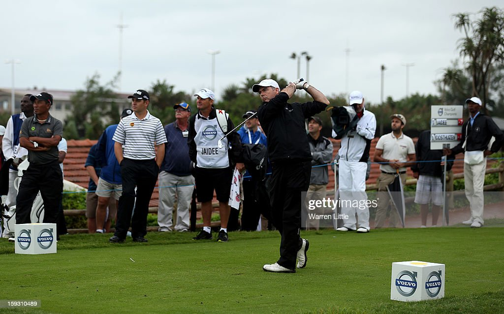 Amateur, Colin Ledworth of England tees off on the first hole in the Amateur-Pro competition during the second round of the Volvo Golf Champions at Durban Country Club on January 11, 2013 in Durban, South Africa.