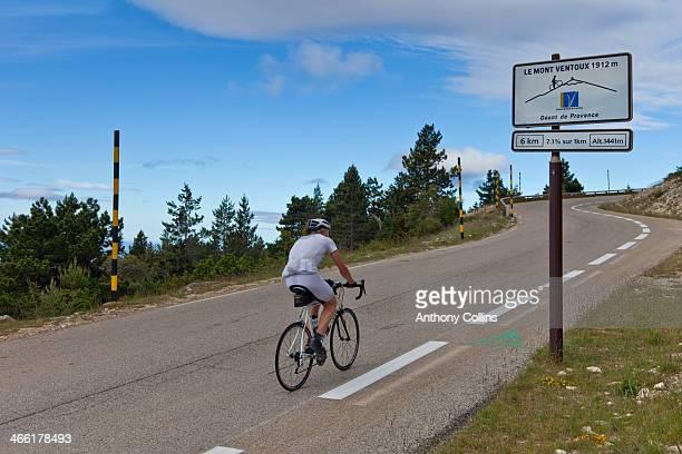 Amateur cyclist riding up Mont Ventoux