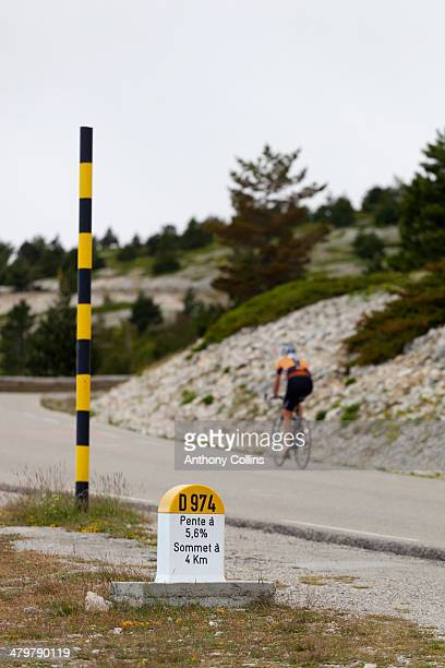 Amateur cyclist riding up Mont Ventoux