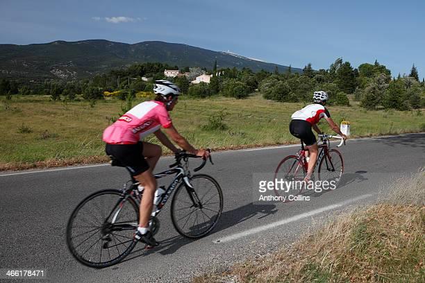 Amateur cyclists riding up Mont Ventoux