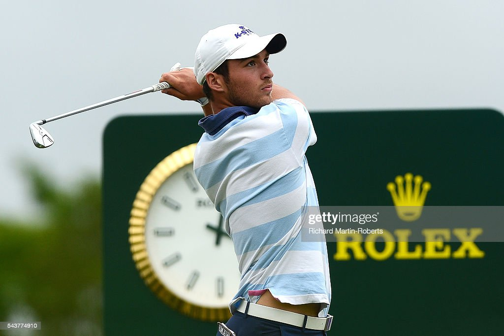 Amateur Jeremy Gandon of France tees off on the 16th hole during the first round of the 100th Open de France at Le Golf National on June 30, 2016 in Paris, France.