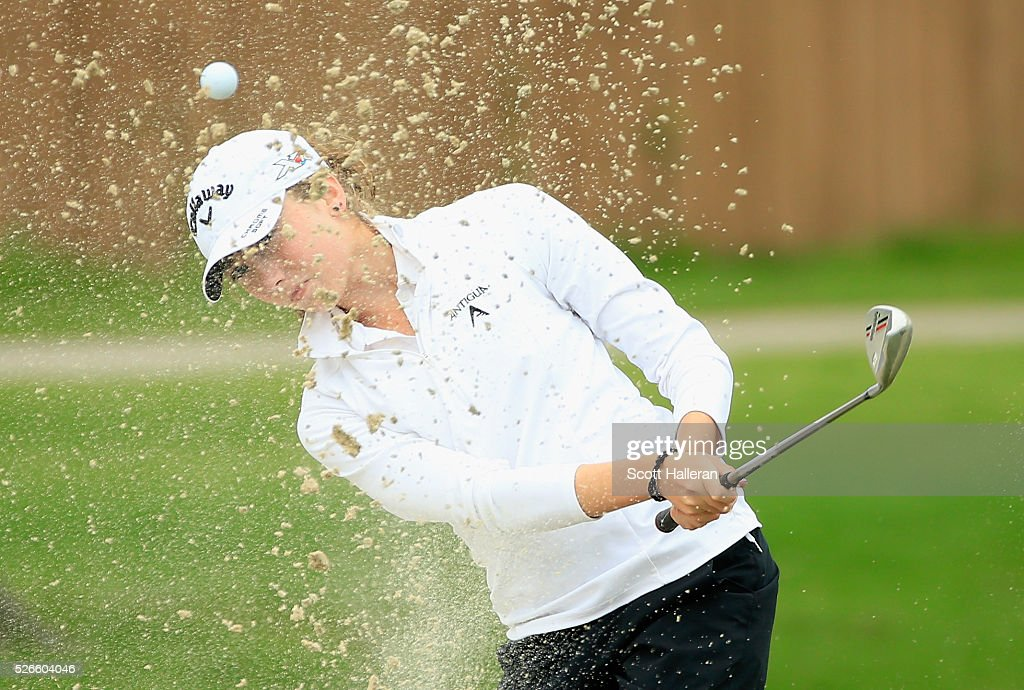 Amateur Karah Sanford plays a bunker shot on the tenth hole during the third round of the Volunteers of America Texas Shootout at Las Colinas Country Club on April 30, 2016 in Irving, Texas.