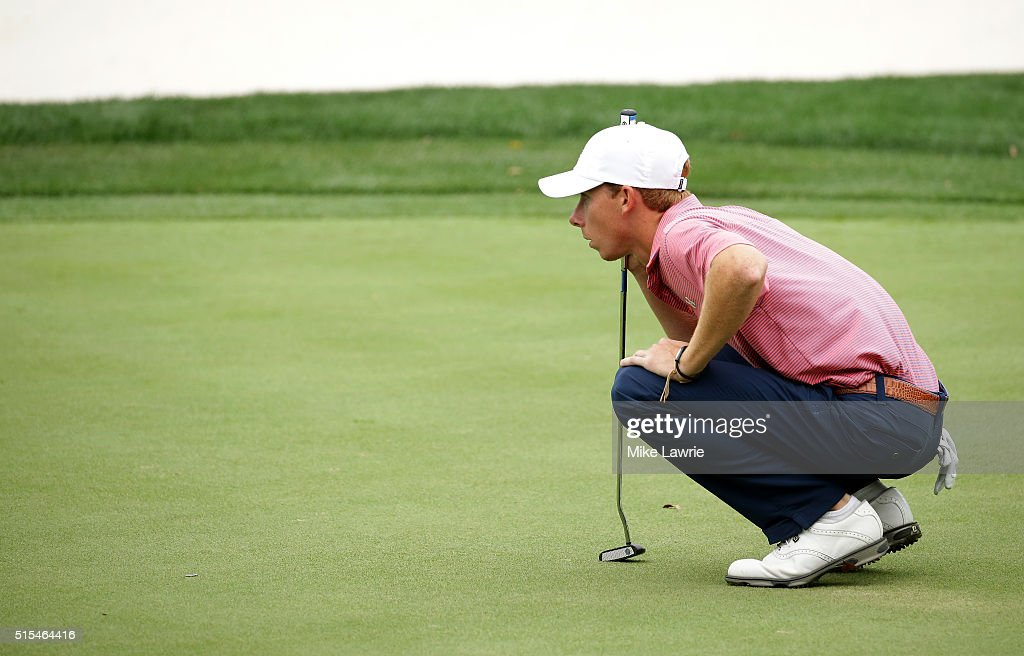 Amateur Lee McCoy lines up a putt on the 14th green during the final round of the Valspar Championship at Innisbrook Resort Copperhead Course on...