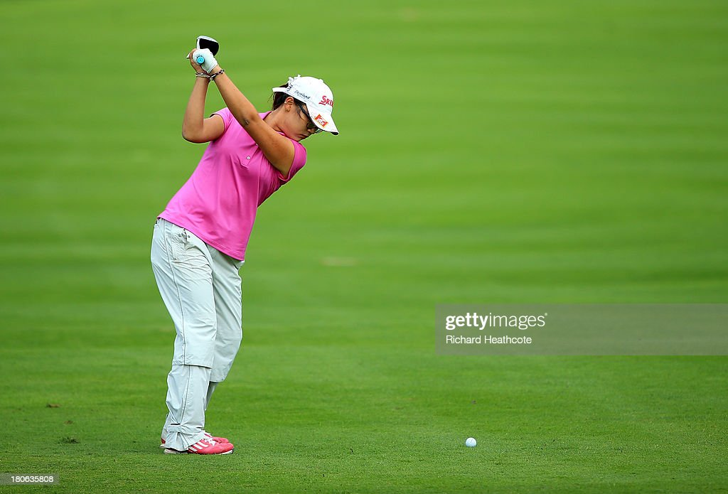 Amateur <a gi-track='captionPersonalityLinkClicked' href=/galleries/search?phrase=Lydia+Ko&family=editorial&specificpeople=5817103 ng-click='$event.stopPropagation()'>Lydia Ko</a> of New Zealand in action during the third round of The Evian Championship at the Evian Resort Golf Club on September 15, 2013 in Evian-les-Bains, France.