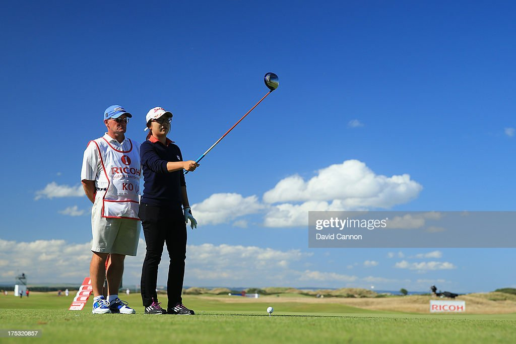 Amateur <a gi-track='captionPersonalityLinkClicked' href=/galleries/search?phrase=Lydia+Ko&family=editorial&specificpeople=5817103 ng-click='$event.stopPropagation()'>Lydia Ko</a> of New Zealand lines up on the 17th hole during the second round of the Ricoh Women's British Open at the Old Course, St Andrews on August 2, 2013 in St Andrews, Scotland.