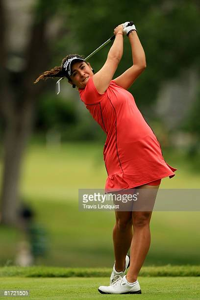 Amateur Maria Jose Uribe of Colombia watches her tee shot on the eighth hole during the first round of the 2008 US Women's Open at Interlachen...