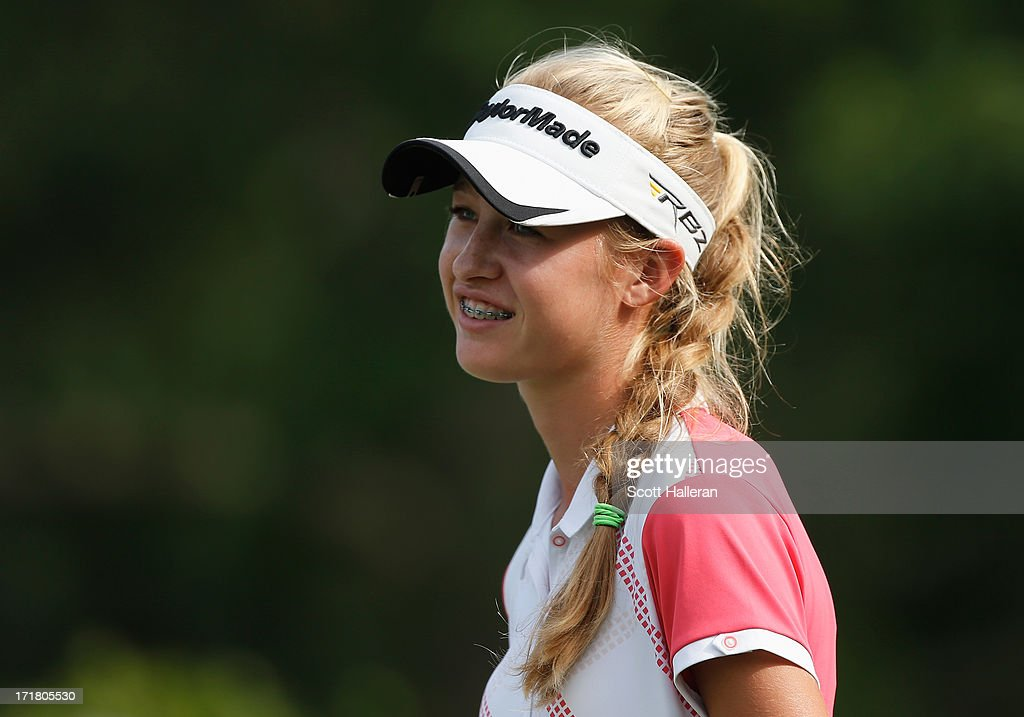 Amateur Nelly Korda waits on the 14th tee during the second round of the 2013 U.S. Women's Open at Sebonack Golf Club on June 28, 2013 in Southampton, New York.