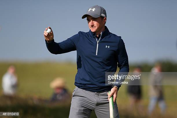 Amateur Paul Dunne of Ireland celebrates a putt on the 15th green during the third round of the 144th Open Championship at The Old Course on July 19...