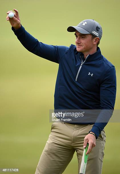 Amateur Paul Dunne of Ireland celebrates on the 18th green during the second round of the 144th Open Championship at The Old Course on July 17 2015...