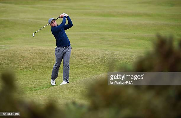 Amateur Paul Dunne of Ireland hits his seconds shot on the fourth during the third round of the 144th Open Championship at The Old Course on July 19...