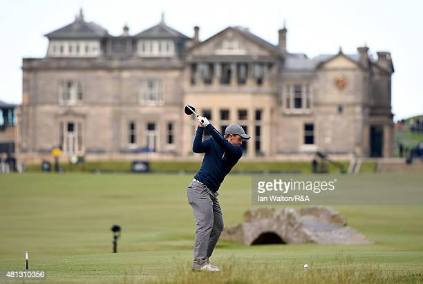 Amateur Paul Dunne of Ireland hits his tee shot off the 18th hole during the third round of the 144th Open Championship at The Old Course on July 19...