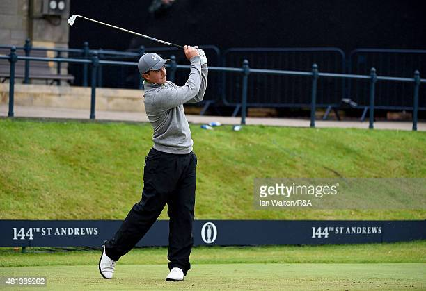 Amateur Paul Dunne of Ireland hits his tee shot on the first hole during the final round of the 144th Open Championship at The Old Course on July 20...