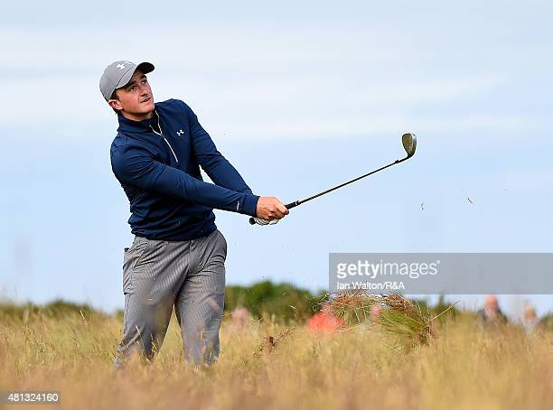 Amateur Paul Dunne of Ireland hits his third shot on the 14th hole during the third round of the 144th Open Championship at The Old Course on July 19...
