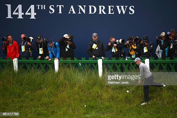 Amateur Paul Dunne of Ireland plays a shot from the the edge of 18th green during the final round of the 144th Open Championship at The Old Course on...