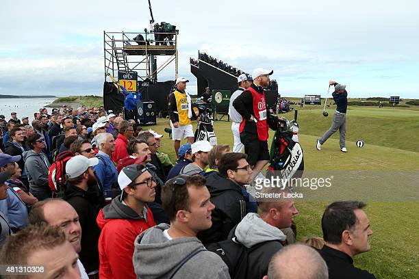 Amateur Paul Dunne of Ireland tees off on the 12th hole during the third round of the 144th Open Championship at The Old Course on July 19 2015 in St...