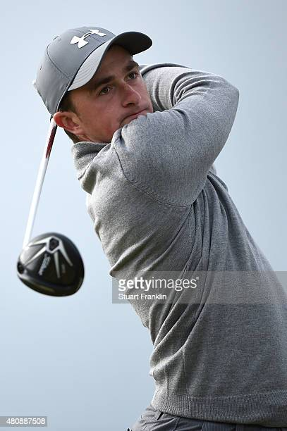 Amateur Paul Dunne of Ireland tees off on the 6th hole during the first round of the 144th Open Championship at The Old Course on July 16 2015 in St...