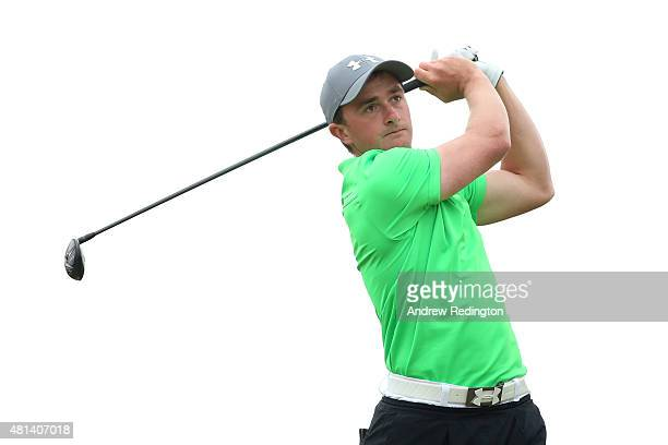Amateur Paul Dunne of Ireland tees off on the 6th hole during the final round of the 144th Open Championship at The Old Course on July 20 2015 in St...