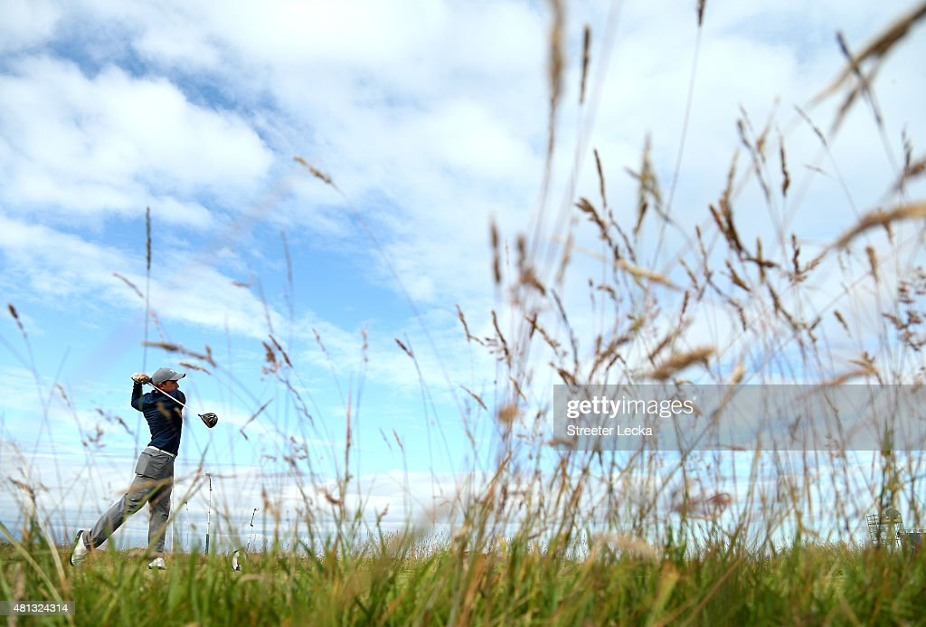 Amateur Paul Dunne of Ireland tees up on the 15th holeduring the third round of the 144th Open Championship at The Old Course on July 19, 2015 in St Andrews, Scotland.