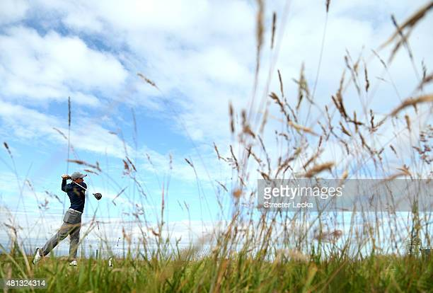Amateur Paul Dunne of Ireland tees up on the 15th holeduring the third round of the 144th Open Championship at The Old Course on July 19 2015 in St...