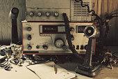 Vintage amateur radio and microphone.