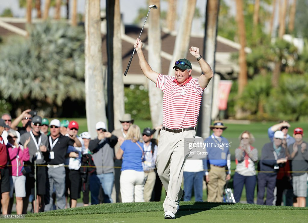 Amateur Rob Mueller reacts to his birdie on the 18th hole during the third round of the CareerBuilder Challenge in Partnership with The Clinton Foundation at La Quinta Country Club on January 21, 2017 in La Quinta, California.