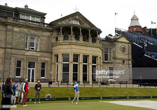 Amateur Romain Langasque hits a tee shot on the first hole ahead of the 144th Open Championship at The Old Course on July 14 2015 in St Andrews...