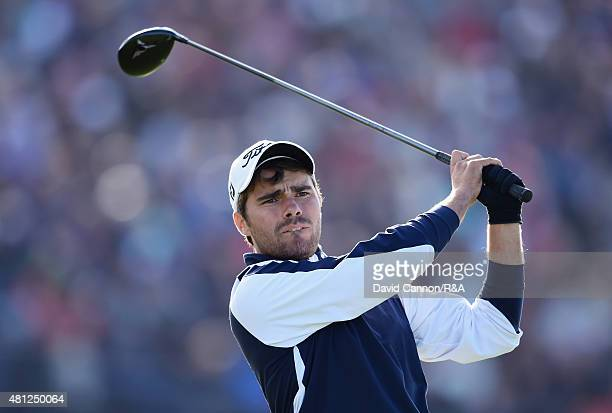 Amateur Romain Langasque of France hits his tee shot on the 18th hole during the second round of the 144th Open Championship at The Old Course on...