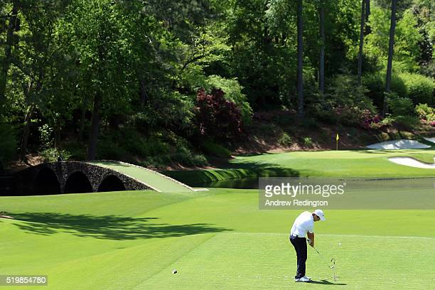 Amateur Romain Langasque of France plays his shot from the 12th tee during the second round of the 2016 Masters Tournament at Augusta National Golf...
