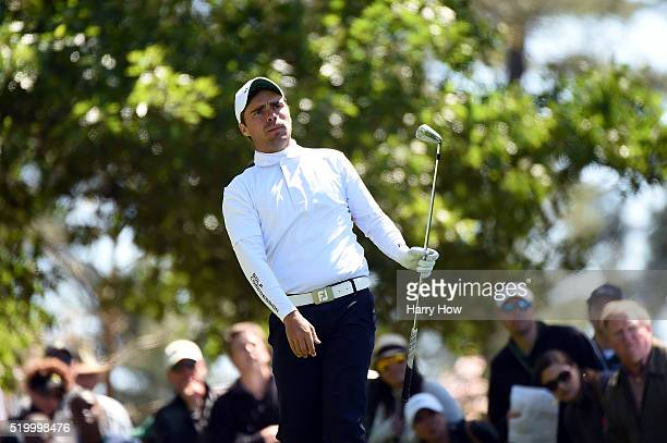 Amateur Romain Langasque of France plays his shot from the fourth tee during the third round of the 2016 Masters Tournament at Augusta National Golf...