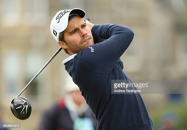 Amateur Romain Langasque of France tees off on the 2nd hole during the first round of the 144th Open Championship at The Old Course on July 16 2015...