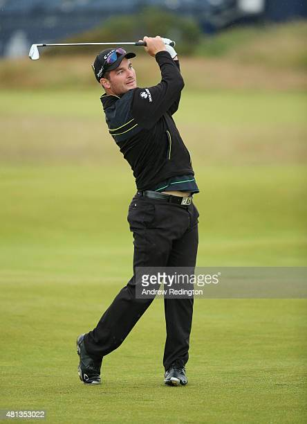 Amateur Ryan Fox of New Zealand plays his second shot on the 2nd hole during the final round of the 144th Open Championship at The Old Course on July...