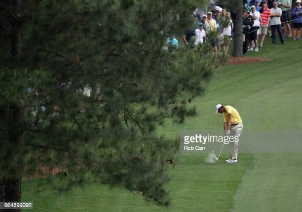 Amateur Stewart Hagestad of the United States plays a shot during a practice round prior to the start of the 2017 Masters Tournament at Augusta...