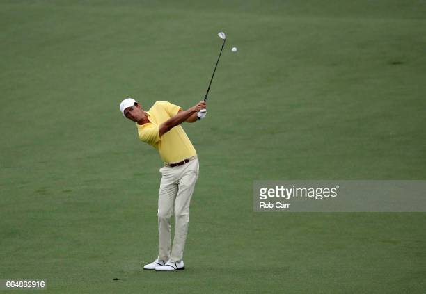 Amateur Stewart Hagestad of the United States plays a shot on the second hole during a practice round prior to the start of the 2017 Masters...