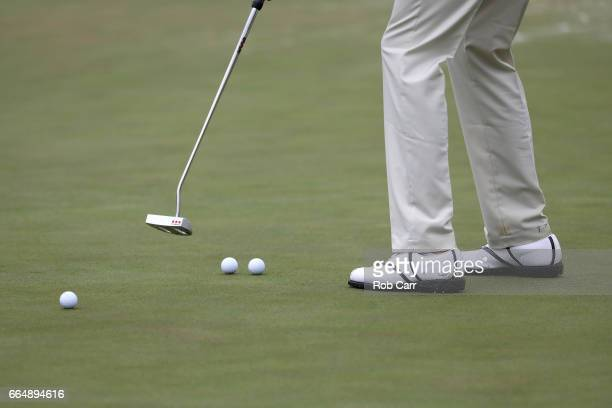 Amateur Stewart Hagestad of the United States putts on the second green during a practice round prior to the start of the 2017 Masters Tournament at...
