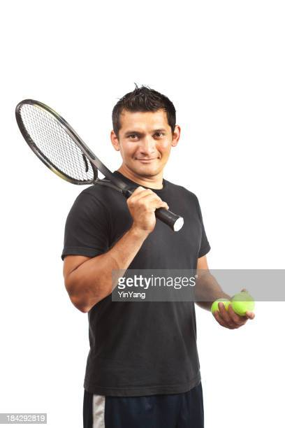 Amateur Tennis Player with Racket and Ball on White Background