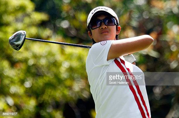 Amateur YueerCindy Feng hits her tee shot on the 16th hole during the first round of the 2009 US Women's Open at the Saucon Valley Country Club on...