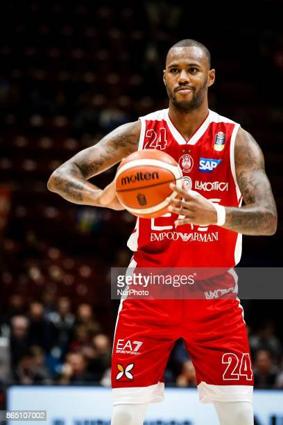Amath MBaye looks for a pass during a basketball game of Poste Mobile Lega Basket A between EA7 Emporio Armani Milano vs Happy Casa Brindisi at...
