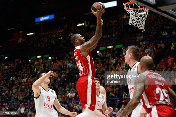 Amath MBaye shoots a layup during a game of Turkish Airlines EuroLeague basketball between AX Armani Exchange Milan vs Brose Bamberg at Mediolanum...