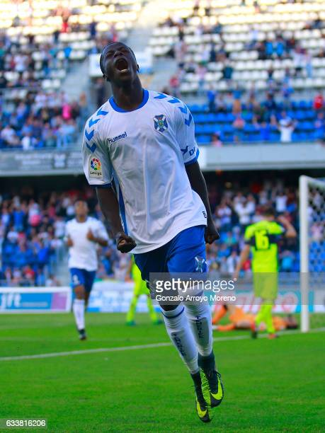 Amath Ndiaye Diedhiouof Tenerife SAD celebrates scoring their second goal during the La Liga 2 match between CD Tenerife and Elche at Estadio...