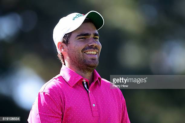 Amatuer Romain Langasque of France looks on during a practice round prior to the start of the 2016 Masters Tournament at Augusta National Golf Club...