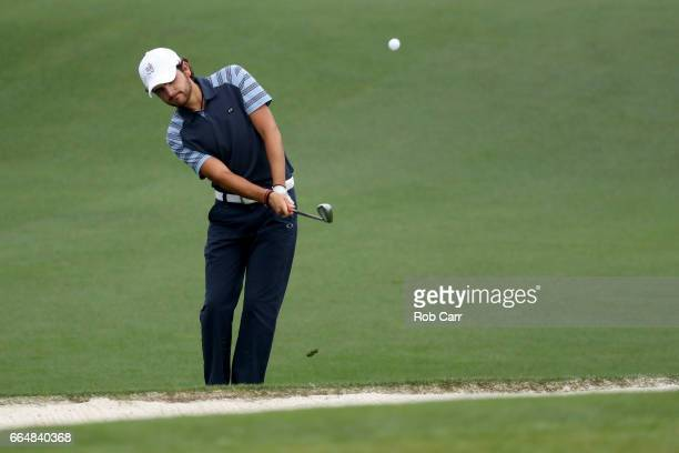 Amatuer Toto Gana of Chile plays a shot on the second hole during a practice round prior to the start of the 2017 Masters Tournament at Augusta...