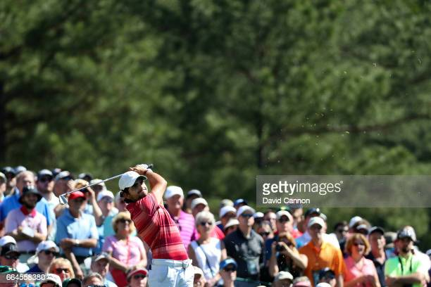 Amatuer Toto Gana of Chile plays a tee shot during a practice round prior to the start of the 2017 Masters Tournament at Augusta National Golf Club...