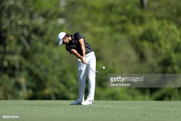 Amatuer Toto Gana of Chile plays his second shot on the fifth hole during the second round of the 2017 Masters Tournament at Augusta National Golf...