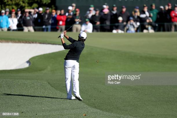 Amatuer Toto Gana of Chile plays his third shot on the first hole during the second round of the 2017 Masters Tournament at Augusta National Golf...