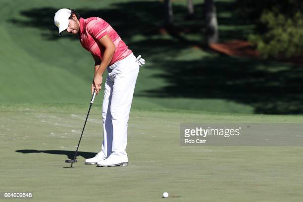 Amatuer Toto Gana of Chile putts during a practice round prior to the start of the 2017 Masters Tournament at Augusta National Golf Club on April 4...
