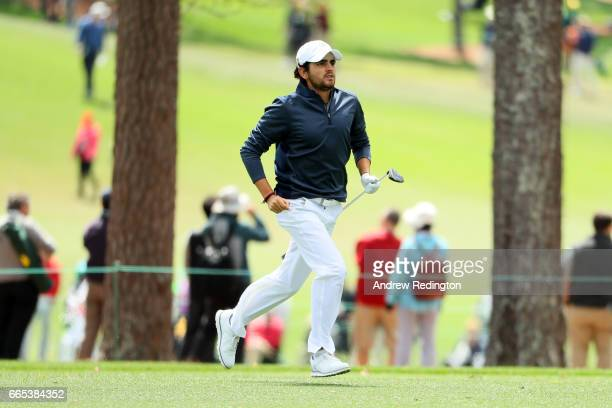 Amatuer Toto Gana of Chile reacts to his second shot on the first hole during the first round of the 2017 Masters Tournament at Augusta National Golf...