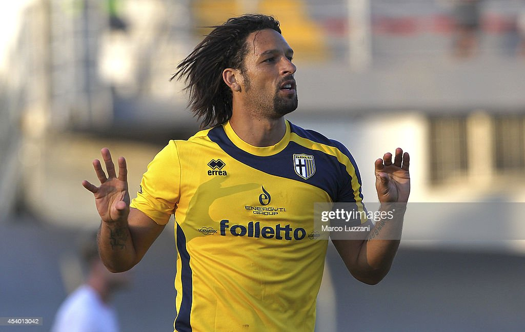 Amauri Carvalho De Oliveira celebrates after scoring the opening goal during the pre-season friendly match between Carpi FC and FC Parma at Stadio Sandro Cabassi on August 23, 2014 in Carpi, Italy.