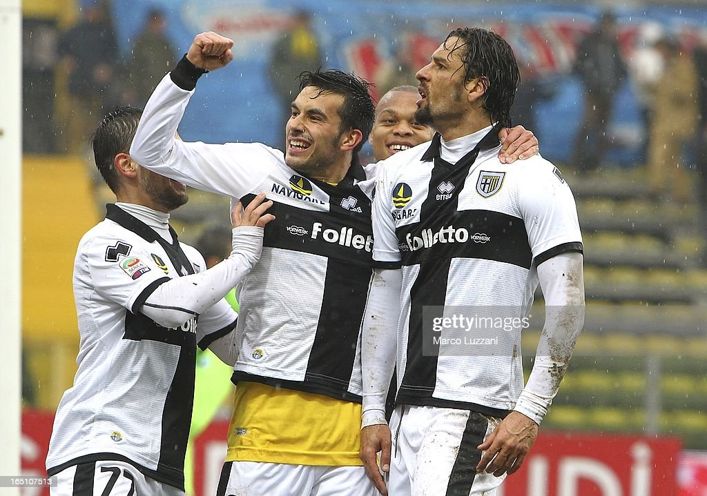 Amauri Carvalho De Oliveira of Parma FC celebrates with Nicola Sansone after scoring the third goal during the Serie A match between Parma FC and...